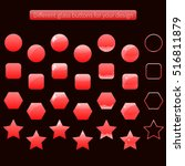 collection of red glossy... | Shutterstock .eps vector #516811879