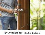 locksmith open the wood door by ...   Shutterstock . vector #516816613