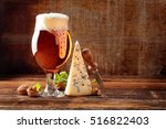 blue cheese appetizer and beer... | Shutterstock . vector #516822403