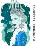 the snow queen   vector... | Shutterstock .eps vector #516835438