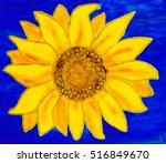 One Sunflower On Blue...