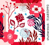 Stock vector autumn colors silk scarf with blooming roses abstract seamless vector pattern with hand drawn 516850993