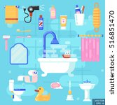 set flat icons of bath and... | Shutterstock .eps vector #516851470