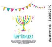 happy hanukkah colorful...   Shutterstock .eps vector #516852340