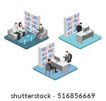 isometric interior of director... | Shutterstock .eps vector #516856669