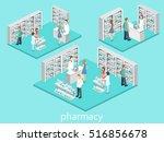isometric interior of pharmacy. ... | Shutterstock .eps vector #516856678