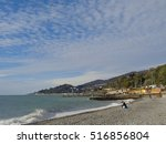 Autumn beach, coast Sochi, Russia - stock photo