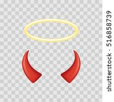 angel halo and devil horns... | Shutterstock .eps vector #516858739