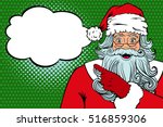 wow pop art santa claus in red... | Shutterstock .eps vector #516859306