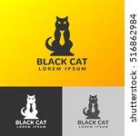 black cat logo. pet shop logo....   Shutterstock .eps vector #516862984