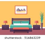 Stock vector hotel room flat interior bedroom house design with bed vector illustration with furniture home 516863239