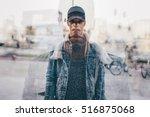 double exposure of young... | Shutterstock . vector #516875068