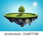 amazing island with tree... | Shutterstock . vector #516877780