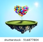 amazing island with love heart... | Shutterstock . vector #516877804