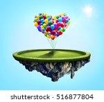 amazing island with love heart... | Shutterstock . vector #516877804