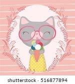 Stock vector cute striped kitten eating ice cream t shirt print design for children s books carton character 516877894