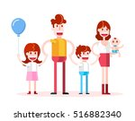 walking in family. isolated... | Shutterstock .eps vector #516882340