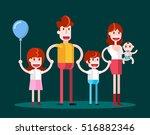 walking in family. isolated...   Shutterstock .eps vector #516882346