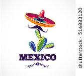 mexican holiday vector poster   ... | Shutterstock .eps vector #516883120