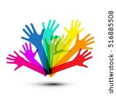 colorful vector hands isolated... | Shutterstock .eps vector #516885508