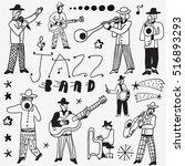 music band doodles | Shutterstock .eps vector #516893293