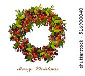 vector green christmas wreath.... | Shutterstock .eps vector #516900040