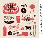 barbecue party vector retro...   Shutterstock .eps vector #516901426