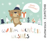 christmas card with cute... | Shutterstock .eps vector #516907048
