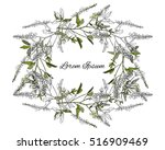 wreath of flowers  painted | Shutterstock .eps vector #516909469