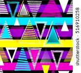 vector geometric ethnic neon... | Shutterstock .eps vector #516910258