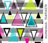 vector geometric ethnic neon... | Shutterstock .eps vector #516910270