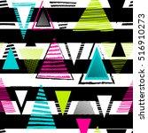 vector geometric ethnic neon...   Shutterstock .eps vector #516910273