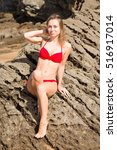 young model with red bikini on... | Shutterstock . vector #516917014