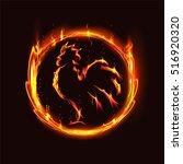 fiery rooster in a fiery circle ... | Shutterstock .eps vector #516920320