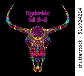 psychedelic bull skull head... | Shutterstock .eps vector #516924214