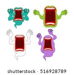 scary ghost set. mysterious... | Shutterstock .eps vector #516928789