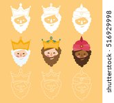 the three kings of orient. 3... | Shutterstock .eps vector #516929998