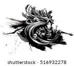 woman knight in heavy armor | Shutterstock .eps vector #516932278