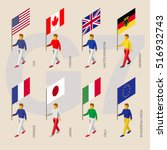 set of isometric 3d people with ... | Shutterstock .eps vector #516932743