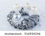 Silver Advent Wreath With 4...