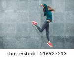 fitness sport girl in fashion... | Shutterstock . vector #516937213