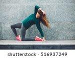 fitness sport girl in fashion... | Shutterstock . vector #516937249