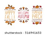 hand drawn autumn elements with ... | Shutterstock .eps vector #516941653