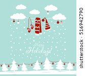 cute winter holiday background... | Shutterstock .eps vector #516942790