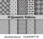 set of 10 geometric patterns.... | Shutterstock .eps vector #516949774