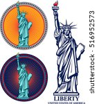 statue of liberty. new york and ... | Shutterstock .eps vector #516952573