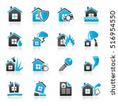 home risk and insurance icons ...   Shutterstock .eps vector #516954550