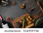 steak with baked potatoes ... | Shutterstock . vector #516959758