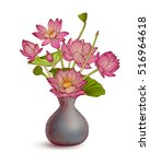 vase with lotus flowers on... | Shutterstock .eps vector #516964618