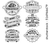new year and christmas badges... | Shutterstock .eps vector #516966679